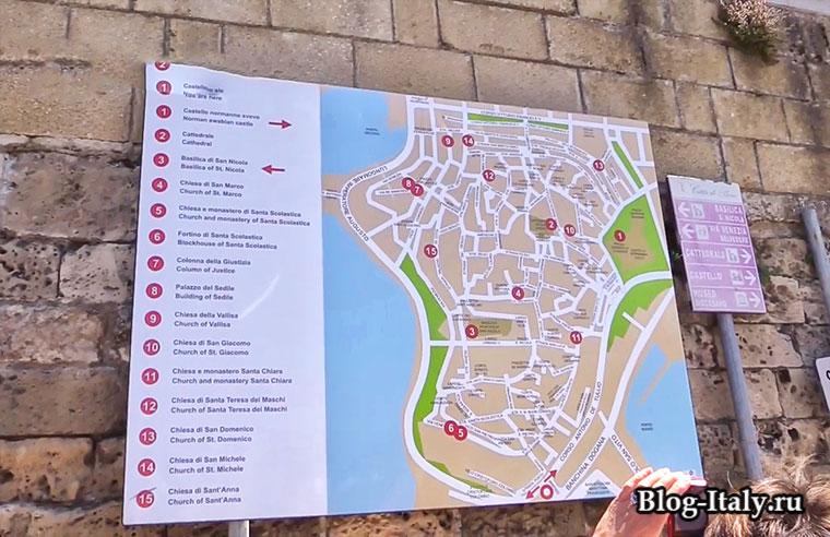 Карта достопримечательностей Бари
