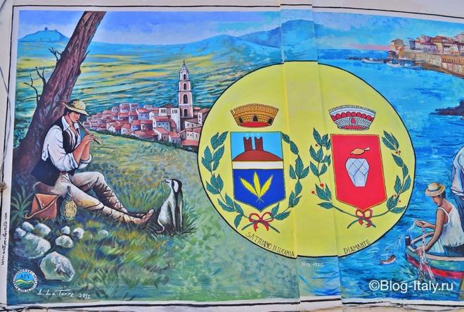 Герб города Диаманте на стене
