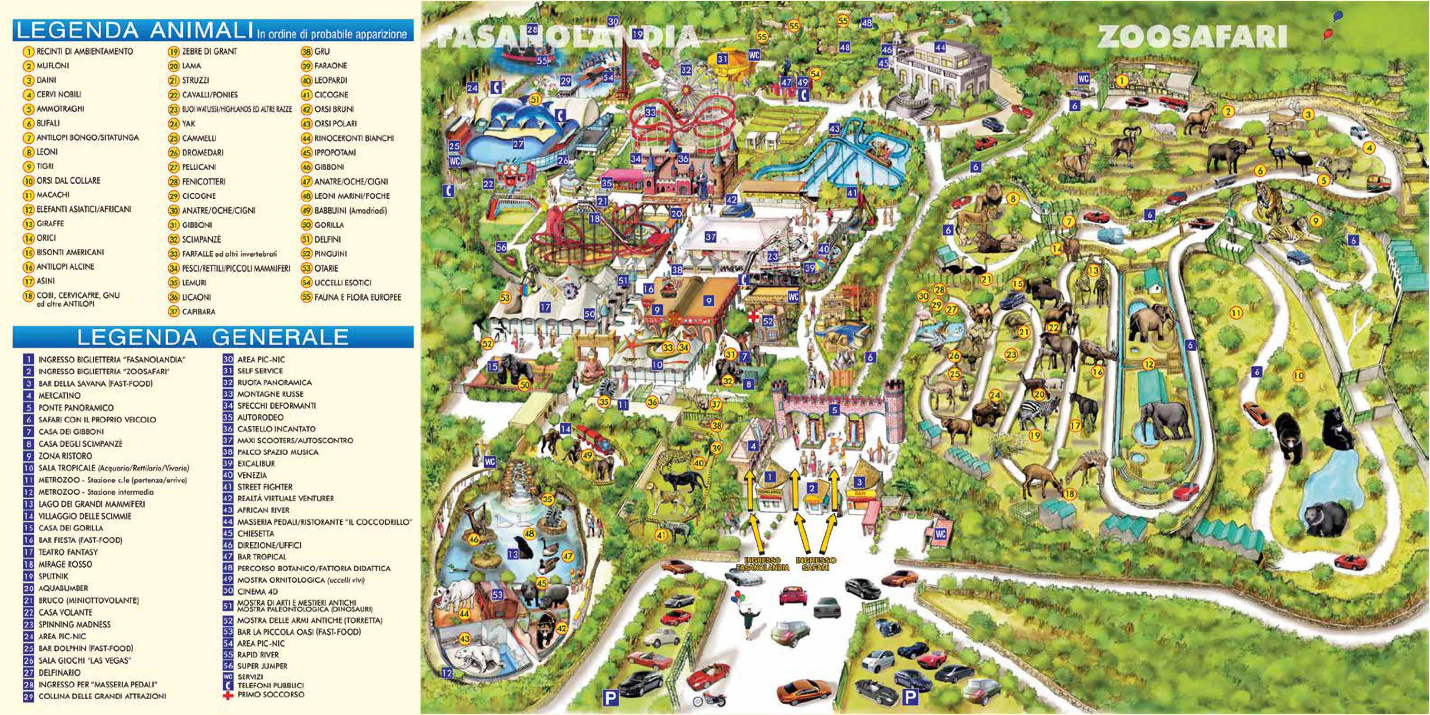 карта зоосафари в Фазано