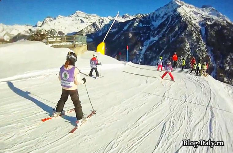 Антаньод, дети на горнолыжном курорте
